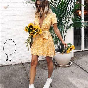 Deep V Yellow Floral Dress